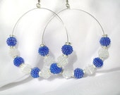 """Large Hoop Earrings - Solo"""""""" Blueberry Ice Blue & White Iridescent Ball Bead"""