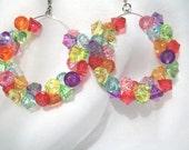 "Solo"""" Rock Candy Rainbow Bead Medium Hoop Earrings - Free Shipping USA :-)"