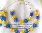 """Large Double Hoop Earrings - Duet"""" Blue, Gold & Yellow Crystal Faceted Beads - Free Shipping USA :-)"""
