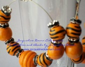 """Medium Hoop Earrings - Orange and Black Solo"""""""" Celebrity Inspired Tiger Stripe & Natural Wood Beads - Free Shipping USA :-)"""