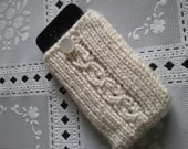 hand knit iphone/ipod case,cell phone pouch, Usa Seller