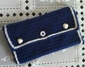 Crochet Clutch Purse, Wallet, Crochet Wallet Clutch, White AND Navy Blue Purse, Usa seller