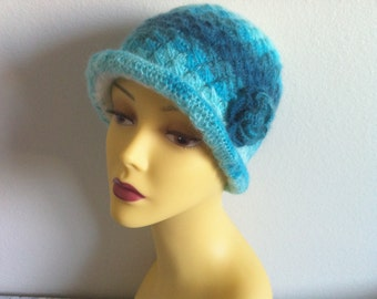 Chemo Cloche Hat, Crochet Women Hat In Turquoise, Blue Women Hat With Flower