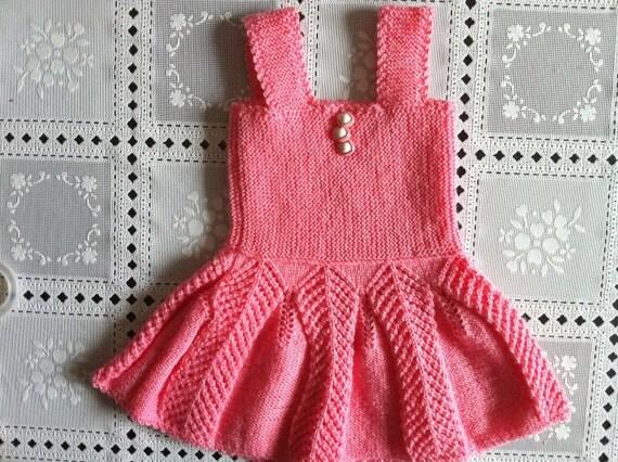 Hand Knit Baby Pinafore Dress Christmas Dress Girl Baby