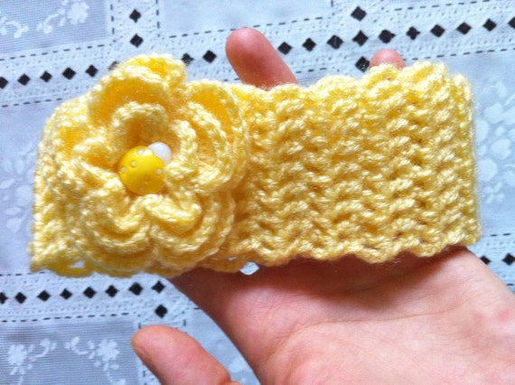 Crochet Toddler Baby Headband, Flower Yellow Headband, Yellow, Usa Seller, Free Shipping