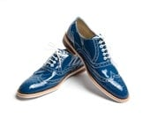 blue patent oxford shoes - FREE WORLDWIDE SHIPPING