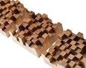 Geometric Patterned American Black Walnut Wood Wall Hanging