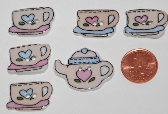 Tea Party Ceramic Buttons