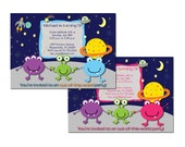 Aliens Birthday Invitation - Outer Space - Available with Pink Border too - Printable DIY Digital Jpeg