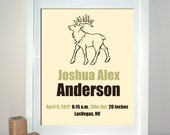 Custom Birth Announcement Print, Woodland Critters Art, Moose, Modern Wall Art, Custom Colors - 8 x 10 Print