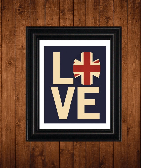 British Flag, I LOVE my BRITISH Roots, Union Jack Flag, 8 x 10 Print