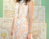 Vintage 60s peach floral dropwaist dress (( small ))