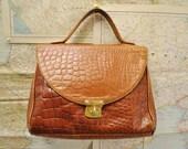 LAST CHANCE Vintage faux croc leather satchel