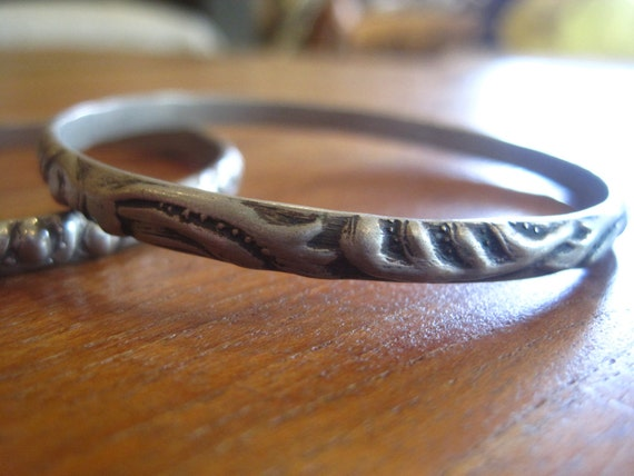 HOLD FOR ANNETTA Vintage Patterned Mexican Sterling Bangles