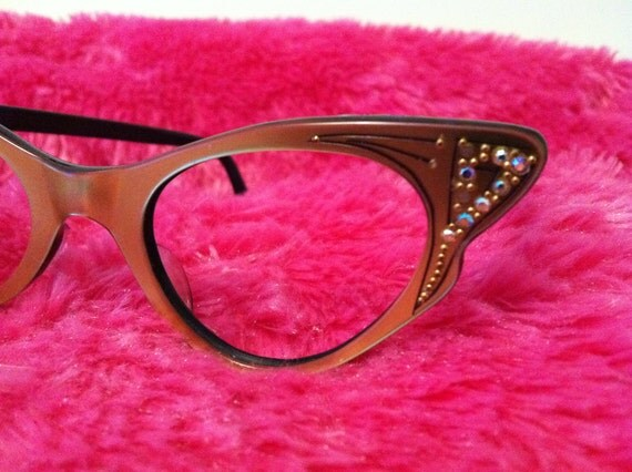 Vintage 50s Gold Tone/Black Rhinestone Butterfly Cateye Glasses - Frames only