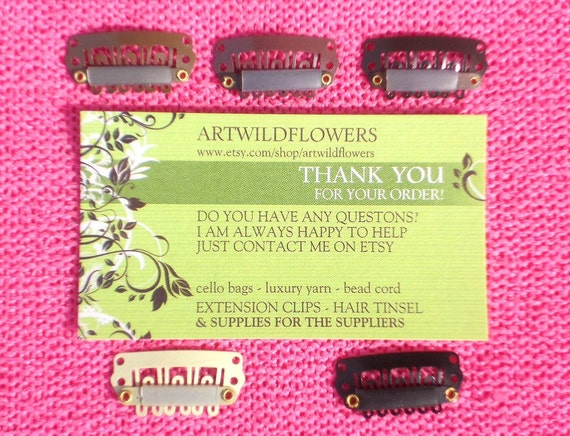 Bulk Weft Clips in 5 colors - size 28mm - Set of 50