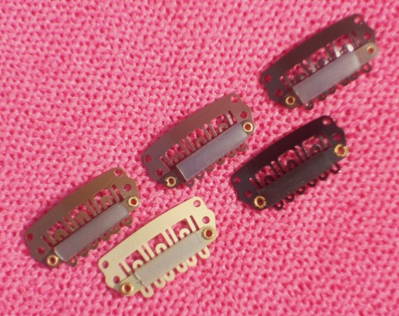 28mm Snap Clips - 10 CLIPS  --- 2 each in 5 colors --- Extension Clips, Weft Clips, Toupee Clips, Comb Clips, Wig Clips, U Clips, Bow Clips