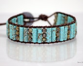 Southwestern Turquoise Leather Wrap Beaded Bracelet-Chan Luu Style-Brown Leather