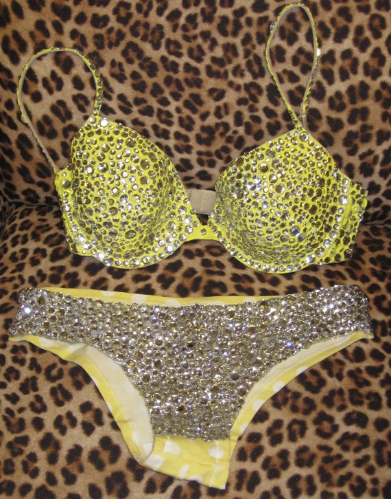Rhinestone Bra and Panty Set with White and Yellow Polka Dots Covered in Rhinestones and Crystals in a size 34 C and Medium Panties