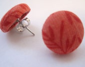 Coral Leaf Button Earrings