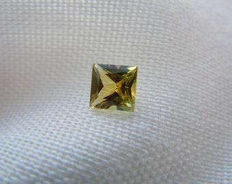Genuine Montana Sapphire Princess Cut Yellow/Orange/Green .67 carat