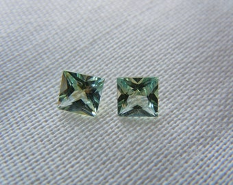Matched Pair Genuine Montana Sapphires 1.07ctw Princess Cut Loose Gemstones