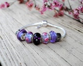 Womens Bracelet, Purple Passion, Silver Bracelet, Purple Lampwork Beads,