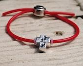 Childrens Bracelet, Jesus Loves Me, Red, Cross Bead,  Foot Prints