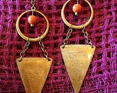 tangerine and stamped brass triangle earrings