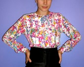 40% OFF sale vintage Nicola 1970/80s bright polka-dot polyester blouse