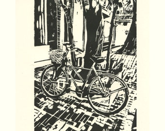 Buenos Aires Bicycle - linocut on acid free paper