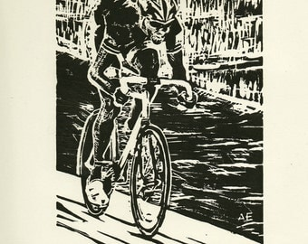 Faster-  Original linocut of a cyclist at Alpenrose Velodrome