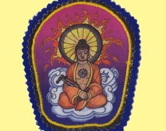 Bicycling Buddha Iron On Patch