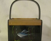 Vintage Lucite and Wood Box Bag Handbag Purse Fish Design INTERESTING