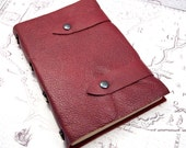 Burgundy Leather Journal handbound with celtic knot beads on spine