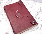Burgundy Leather Journal steampunk inspired style, handbound with celtic knot beads on spine