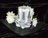 Little basket -Sculpted Art Candle - Black/White - Glows from inside out - FREE SHIPPING for Australia Metro