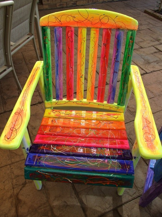Rainbow Funky Vibrant Chair Ooak Uniquely Hand Painted
