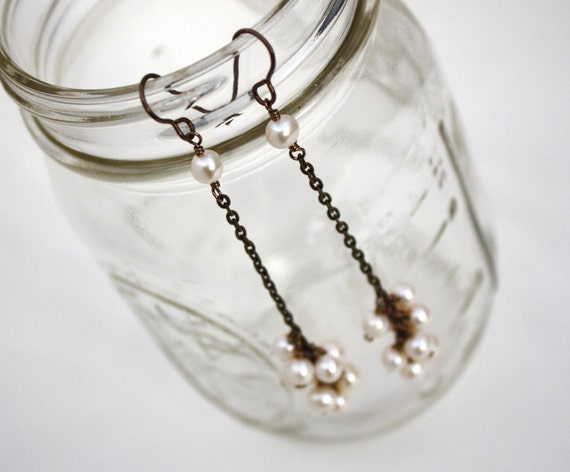 Long Freshwater Pearl Cluster Earrings Ivory on Antiques Brass