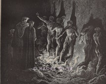 Nude Men Burn In Hell-Fire-Flames-1888 Antique Vintage Art PRINT-Gothic-Goth-Torment-Sin-Torture-Punishment-Devil-Lucifer-Naked