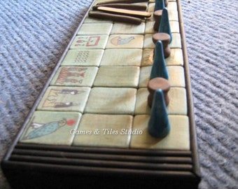 Unique handcrafted Ancient Egyptian Senet Game board in cotton bag - Made to order - Gioco di società Egiziana Senet
