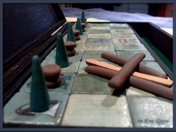 Unique handcrafted Ancient Egyptian Senet Game board with glazed tiles in black wooden box - Made to order