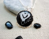 White Heart Black and White(021)- Necklace - FREE WORLDWIDE SHIPPING