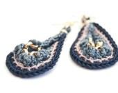 SALE earrings peacock crochet drop gold chain silk-cotton thread