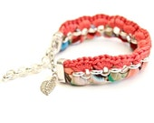 SALE bracelet  psychedelic patterned jersey and coral red yarn and rolo chain