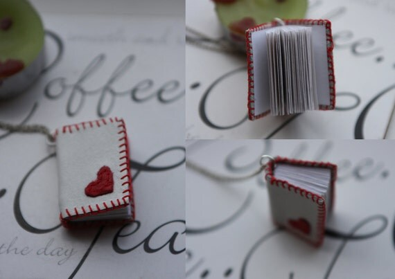 Mini book necklace with a little heart