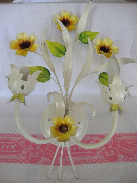 Fabulous vintage Italian tole sconce metal flowers