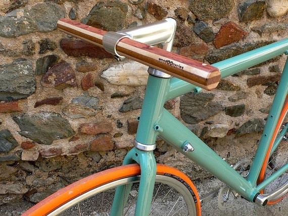 bubinga and ash wood straight bicycle handlebar