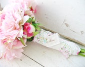 love . wedding bouquet charm . shabby chic fabric . pearl . and blue forget-me-not . for the cottage chic bride