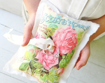 pink roses . ring bearer pillow . vintage seed catalog with flowers . for a shabby chic wedding